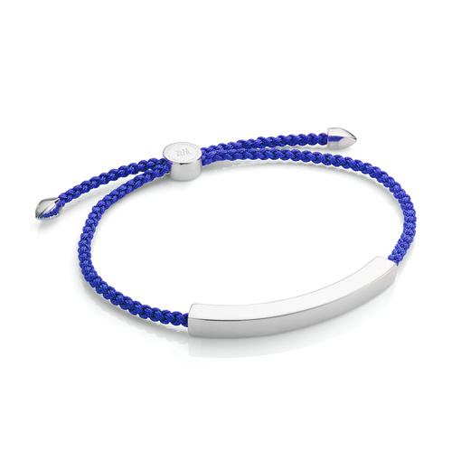 Sterling Silver Linear Large Men's Friendship Bracelet - Majorelle Blue - Monica Vinader