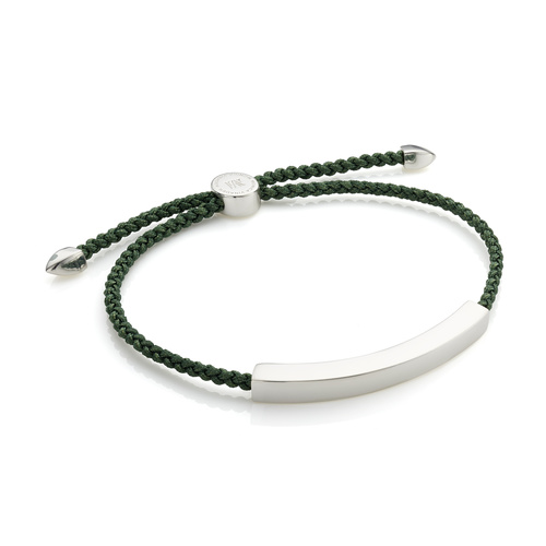 Sterling Silver Linear Large Men's Friendship Bracelet - Khaki Green - Monica Vinader