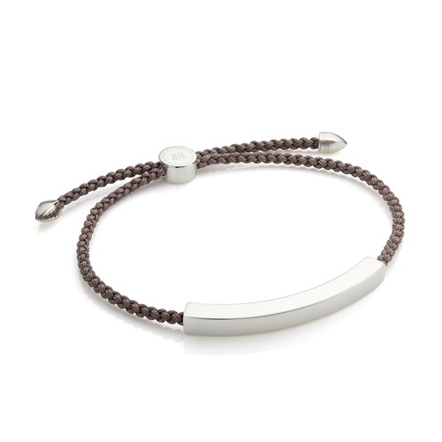 Sterling Silver Linear Large Men's Friendship Bracelet - Mink - Monica Vinader
