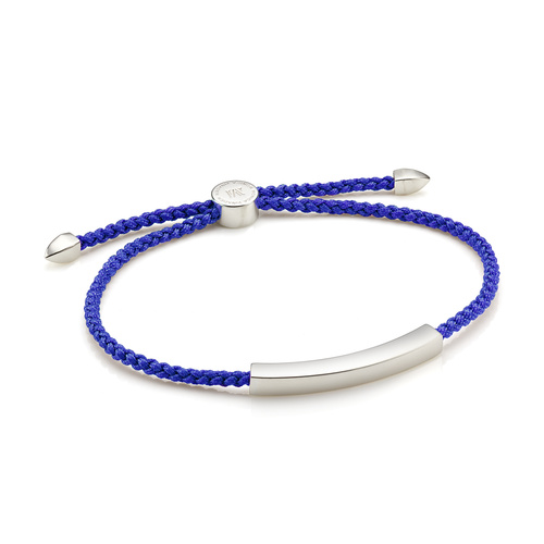 Sterling Silver Linear Men's Friendship Bracelet - Majorelle Blue - Monica Vinader