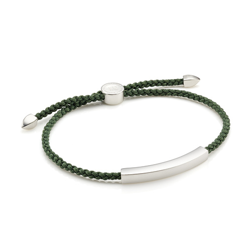 Linear Men's Friendship Bracelet - Khaki Green - Monica Vinader