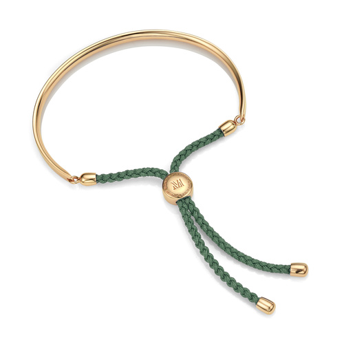 Gold Vermeil Fiji Friendship Bracelet - Khaki Green - Monica Vinader