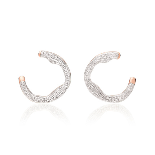 Rose Gold Vermeil Riva Diamond Circle Wrap Earrings - Diamond - Monica Vinader