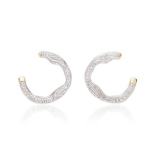 Gold Vermeil Riva Diamond Circle Wrap Earrings - Diamond - Monica Vinader