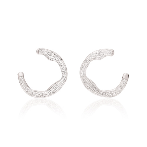 Sterling Silver Riva Diamond Circle Wrap Earrings - Diamond - Monica Vinader