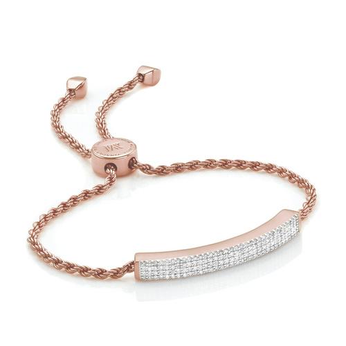 Rose Gold Vermeil Linear Pave Diamond Bracelet - Diamond - Monica Vinader