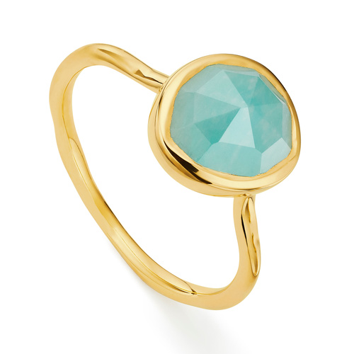 Gold Vermeil Siren Stacking Ring - Amazonite - Monica Vinader