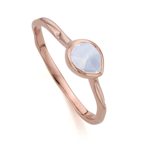 Rose Gold Vermeil Siren Small Stacking Ring - Blue Lace Agate - Monica Vinader