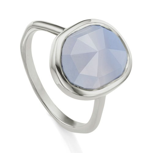 Sterling Silver Siren Medium Stacking Ring - Blue Lace Agate - Monica Vinader