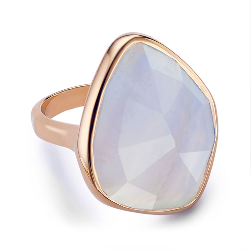Rose Gold Vermeil Siren Nugget Cocktail Ring - Blue Lace Agate - Monica Vinader