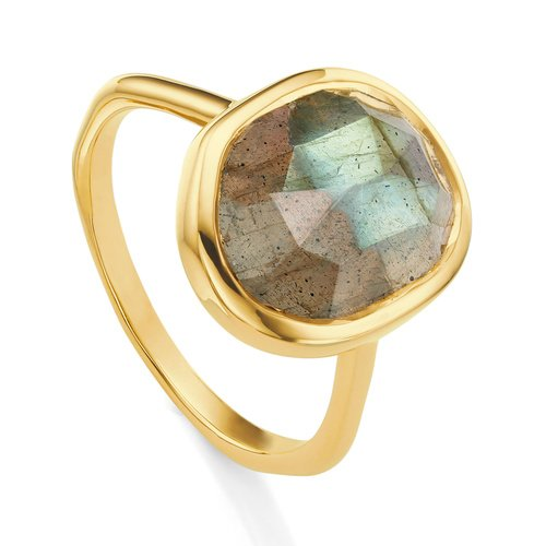 Gold Vermeil Siren Medium Stacking Ring - Labradorite - Monica Vinader