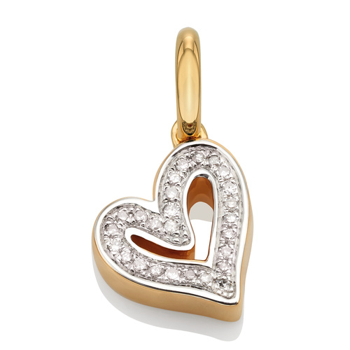 Gold Vermeil Alphabet Heart Diamond Pendant Charm - Diamond - Monica Vinader