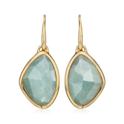 Gold Vermeil Siren Teardrop Earrings - Aquamarine