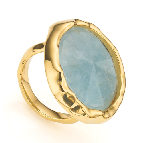 Gold Vermeil Siren Cocktail Round Ring - Aquamarine