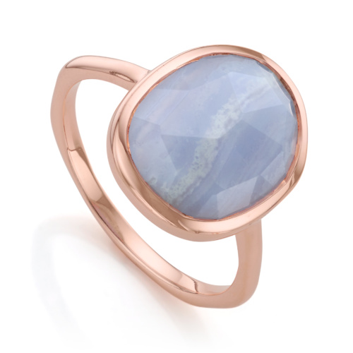 Rose Gold Vermeil Siren Medium Stacking Ring - Blue Lace Agate
