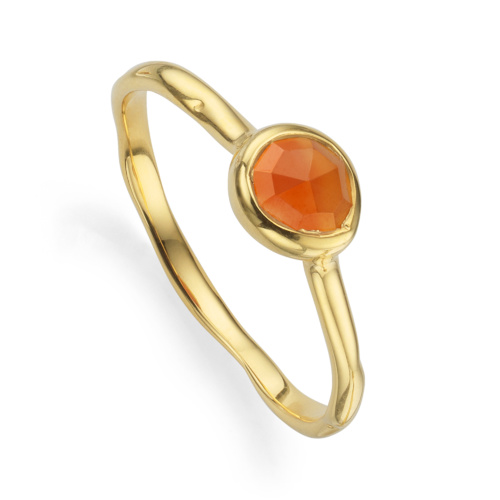 Gold Vermeil Siren Small Stacking Ring - Orange Carnelian