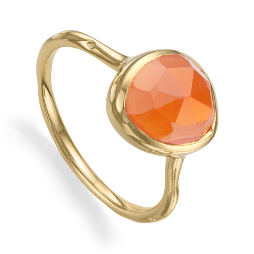Gold Vermeil Siren Stacking Ring - Orange Carnelian