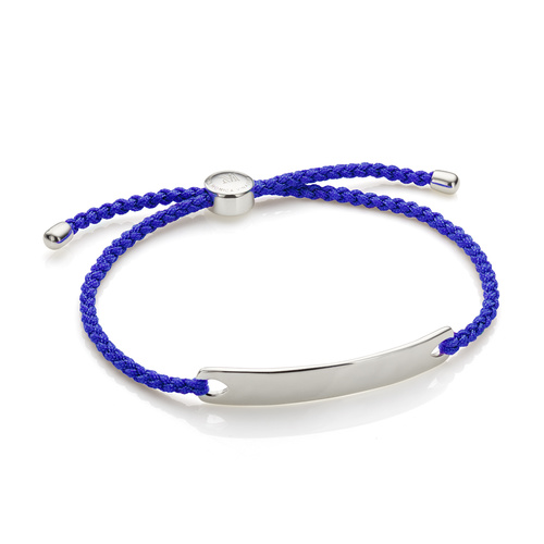 Sterling Silver Havana Men's Friendship Bracelet - Majorelle Blue - Monica Vinader
