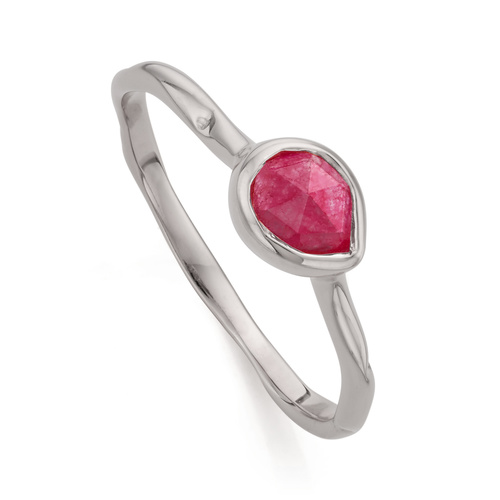 Sterling Silver Siren Small Stacking Ring - Pink Quartz - Monica Vinader