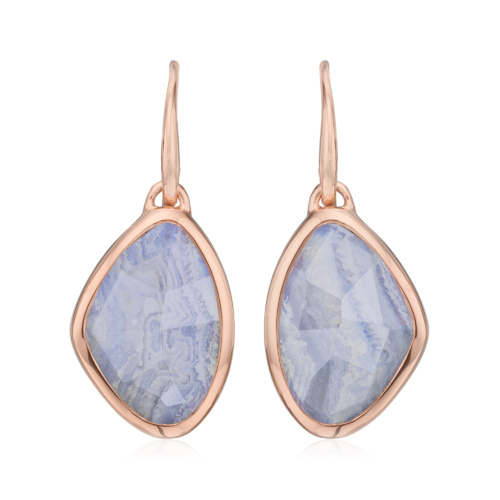 Rose Gold Vermeil Siren Teardrop Wire Earring - Blue Lace Agate