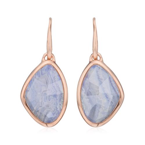 Rose Gold Vermeil Siren Teardrop Wire Earring - Blue Lace Agate