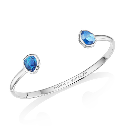Sterling Silver Siren Thin Cuff - Small - Kyanite - Monica Vinader