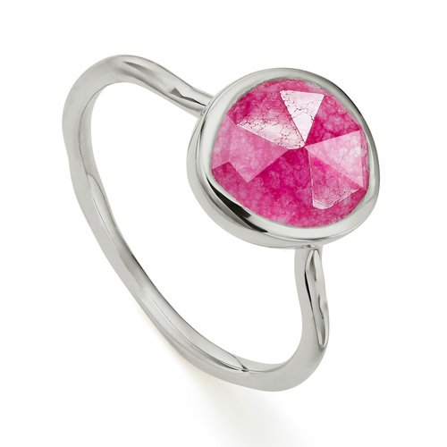 Sterling Silver Siren Stacking Ring - Pink Quartz - Monica Vinader