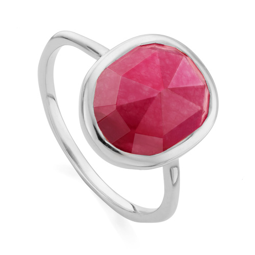 Sterling Silver Siren Medium Stacking Ring - Pink Quartz - Monica Vinader
