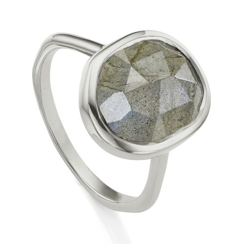 Sterling Silver Siren Medium Stacking Ring - Labradorite - Monica Vinader
