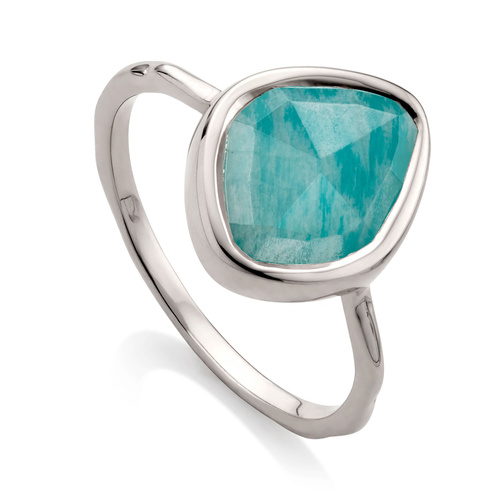 Sterling Silver Siren Small Nugget Stacking Ring - Amazonite - Monica Vinader