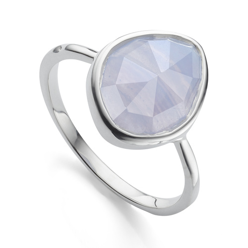 Sterling Silver Siren Small Nugget Stacking Ring - Blue Lace Agate - Monica Vinader