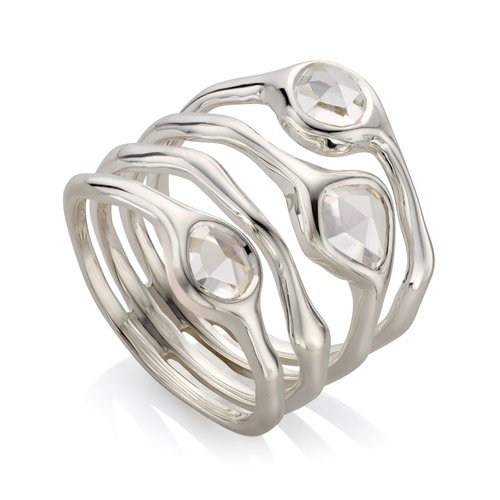 Sterling Silver Siren Cluster Cocktail Ring - Rock Crystal - Monica Vinader