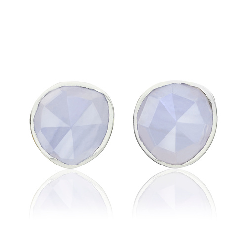 Sterling Silver Siren Stud Earrings - Blue Lace Agate - Monica Vinader