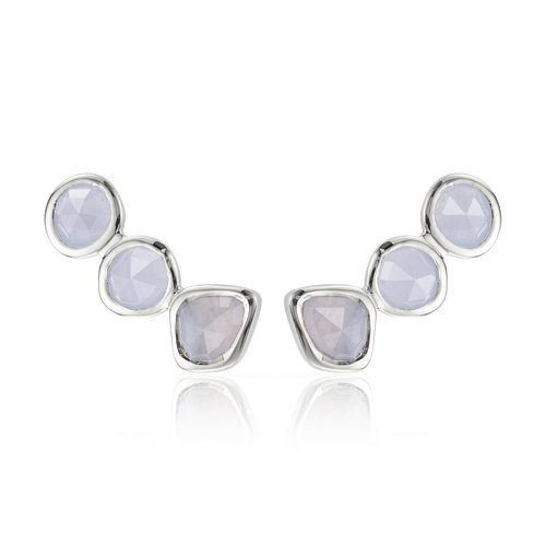 Sterling Silver Siren Climber Earrings - Blue Lace Agate - Monica Vinader