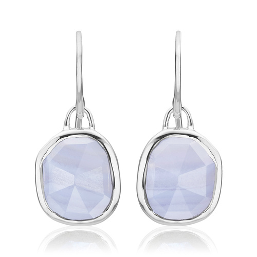 Sterling Silver Siren Wire Earrings - Blue Lace Agate - Monica Vinader