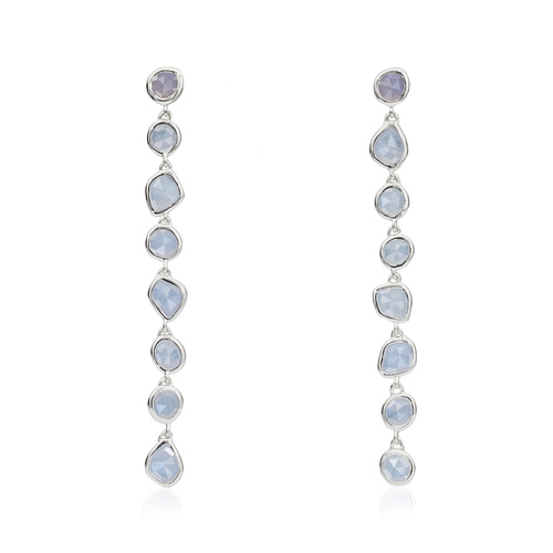 Sterling Silver Siren Mini Nugget Cocktail Earrings - Blue Lace Agate - Monica Vinader