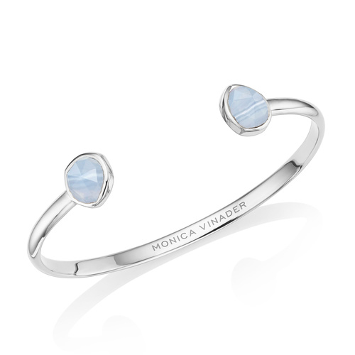 Siren Thin Cuff - Small - Blue Lace Agate - Monica Vinader