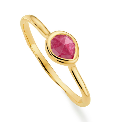 Gold Vermeil Siren Small Stacking Ring - Pink Quartz - Monica Vinader