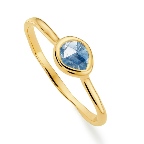 Gold Vermeil Siren Small Stacking Ring - Kyanite - Monica Vinader