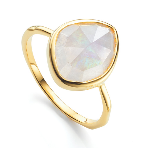 Gold Vermeil Siren Small Nugget Stacking Ring - Moonstone - Monica Vinader