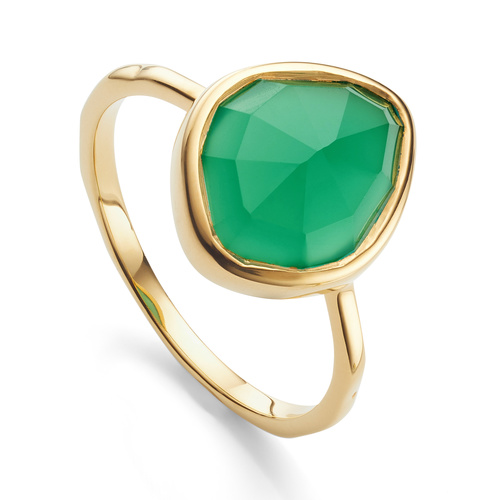 Gold Vermeil Siren Small Nugget Stacking Ring - Green Onyx - Monica Vinader