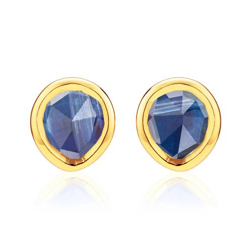 Gold Vermeil Siren Mini Stud Earrings - Kyanite - Monica Vinader