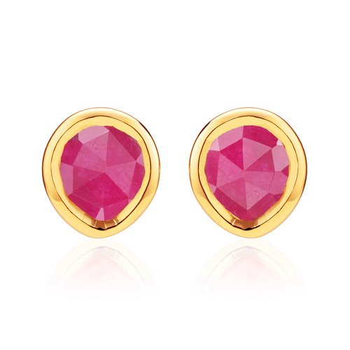 Gold Vermeil Siren Mini Stud Earrings - Pink Quartz - Monica Vinader