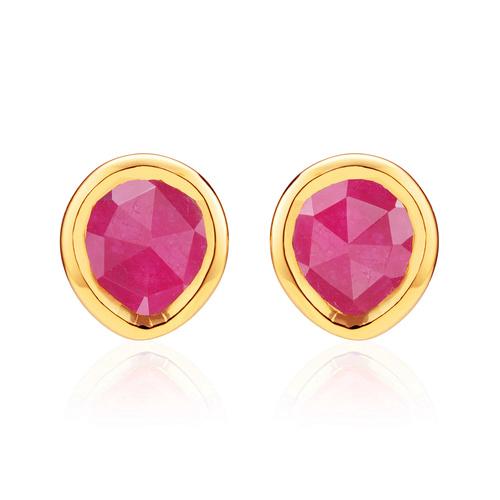 Gold Vermeil Siren Mini Stud Earrings - Pink Quartz - Monica Vinader
