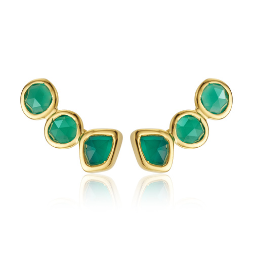 Gold Vermeil Siren Climber Earrings - Green Onyx - Monica Vinader