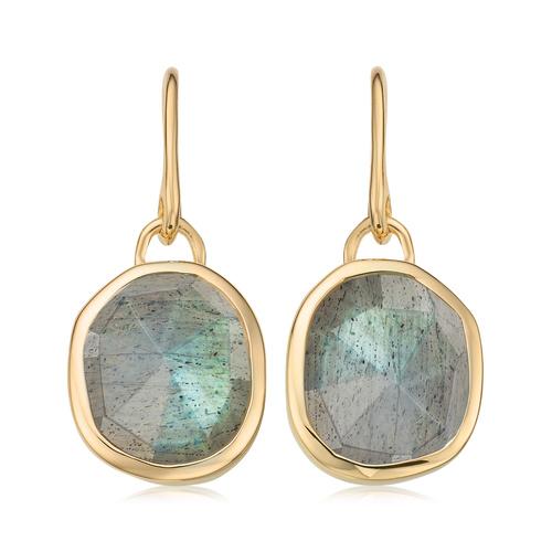 Gold Vermeil Siren Wire Earrings - Labradorite - Monica Vinader