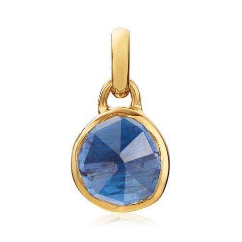 Gold Vermeil Siren Mini Bezel Pendant Charm - Kyanite - Monica Vinader