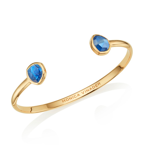 Gold Vermeil Siren Thin Cuff - Small - Kyanite - Monica Vinader