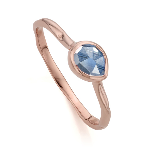 Rose Gold Vermeil Siren Small Stacking Ring - Kyanite - Monica Vinader