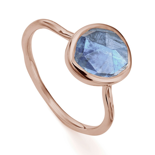 Rose Gold Vermeil Siren Stacking Ring - Kyanite - Monica Vinader